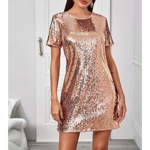 Rose Gold Short Sleeve Shift Cocktail Mini Dress